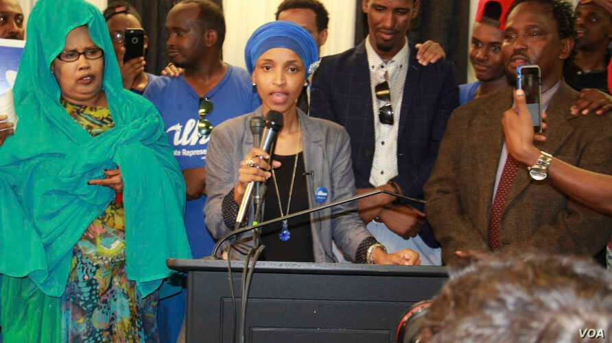 Ilhan Omar gives a victory speech after winning a key primary in Minneapolis with a goal of becoming the first Somali-American state legislator, Aug. 9, 2016. (M. Olad Hassan/VOA)