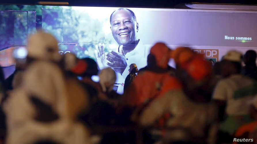 Supporters of Ivory Coast's President Alassane Ouattara and his party, the Rally of the Houphouetists for Democracy and Peace, attend concert to celebrate his victory in Abidjan, Ivory Coast, October 28, 2015.