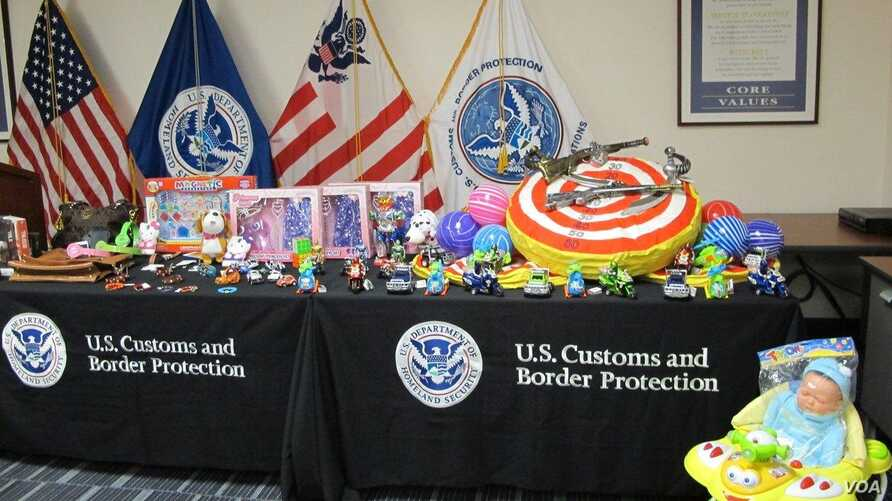 U.S. Customs and Border Protection displays counterfeit toys in this undated photo.