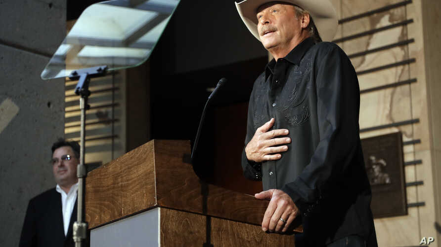 Singer and songwriter Alan Jackson speaks after it was announced Wednesday, April 5, 2017, in Nashville, Tenn., that he is one of the 2017 inductees into the Country Music Hall of Fame along with songwriter Don Schlitz and the late singer and songwri