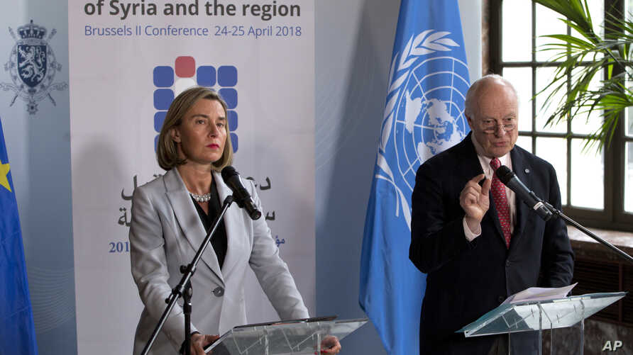 European Union foreign policy chief Federica Mogherini, left, and UN Special Envoy for Syria Staffan de Mistura participate in a media conference after a meeting on 'Supporting the future of Syria and the region' at the Egmont Palace in Brussels, Apr