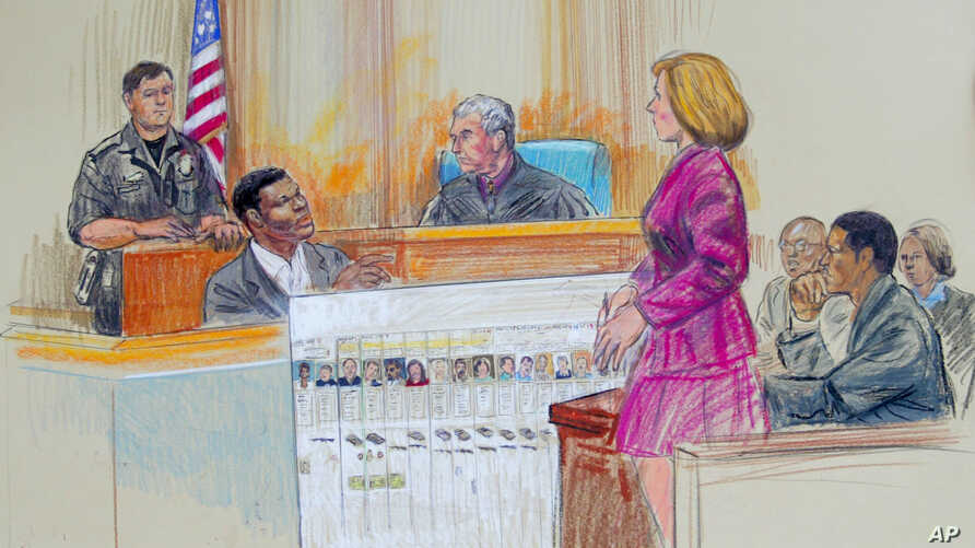 FILE - This artist rendering shows Maryland State Attorney Katherine Winfree showing convicted sniper Lee Boyd Malvo (seated left) and John Allen Muhammad (right) a chart of the victims of the 2002 Washington-area sniper shootings during a courtroom