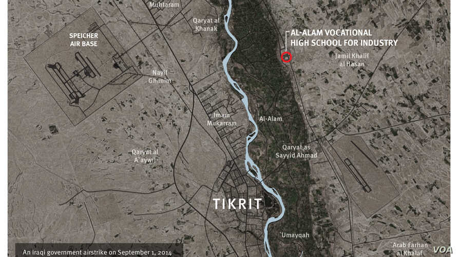 This image provided by Human Rights Watch shows the location of a Sept. 1, 2014 airstrike near Tikrit, Iraq.
