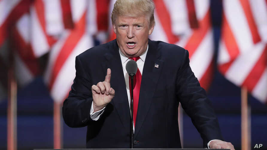 FILE - Republican Presidential candidate Donald J. Trump speaks during the final day of the Republican National Convention in Cleveland, July 21, 2016. Rallies in Florida to support Republican Presidential candidate Trump requested by Russian adver