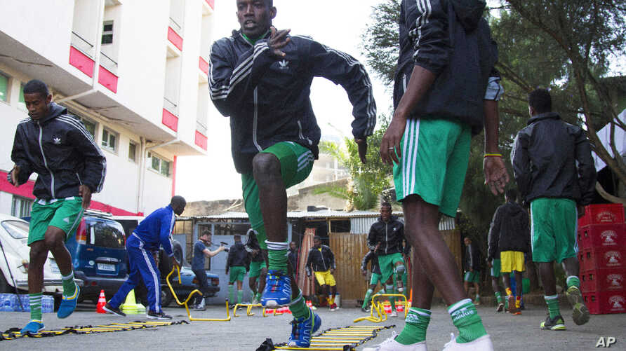 The Somali soccer team train in Addis Ababa, Ethiopia, Oct. 7, 2015 for the first leg of a World Cup qualifier against Niger.