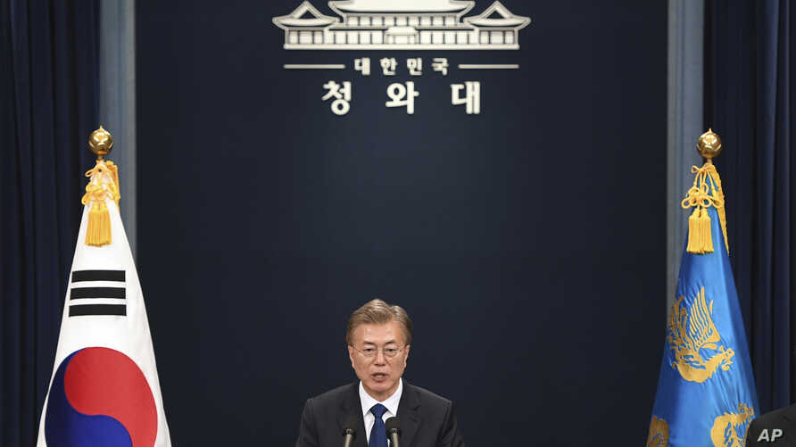 South Korea's new President Moon Jae-In speaks at the presidential Blue House in Seoul, May 10, 2017.
