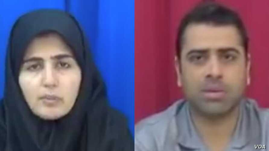 "Iranian labor rights activists Sepideh Gholian and Esmail Bakhshi appear in a screen shot of an Islamic Republic of Iran Broadcasting documentary ""Tarahi Soukhteh"" (A Burnt Plot), broadcast Jan. 19, 2019. International rights activists say the activi"