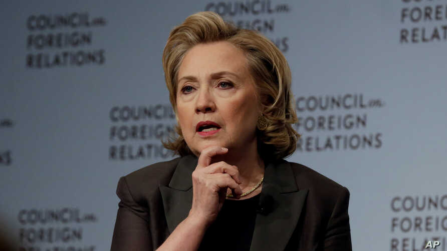 """Hillary Clinton participates in a conversation about her career in government and her new book, """"Hard Choices.,"""" at the Council on Foreign Relations, in New York, Thursday, June 12, 2014"""