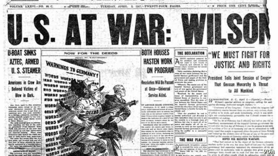 Archival cover of The Chicago Tribune, dated April 6, 1917, the day America declared war on Germany (courtesy of the Chicago Tribune)