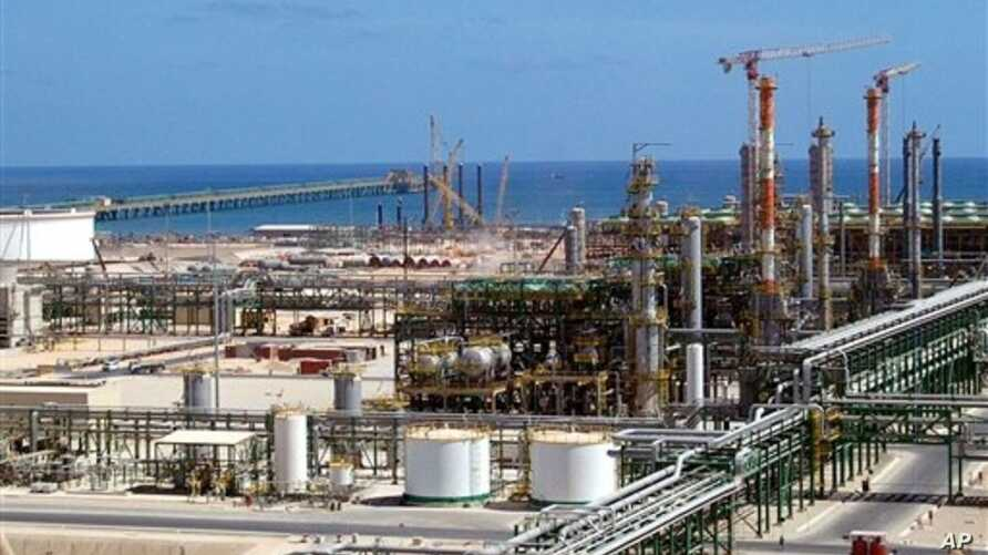 Oil and gas installations are found throughout Libya. This one, built by the Italian ENI group, is on the coast near Mellitah, Libya.