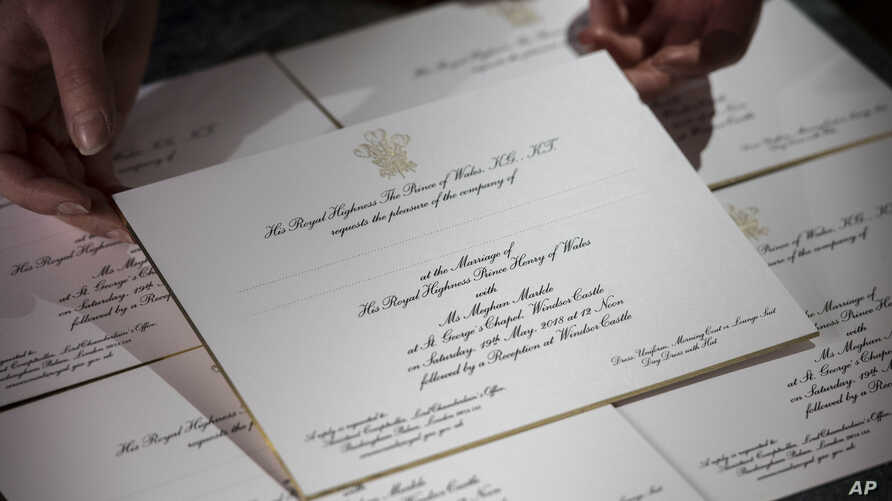 Invitations for Prince Harry and Meghan Markle's wedding in May, after they have been printed at the workshop of Barnard and Westwood in London, March 22, 2018.