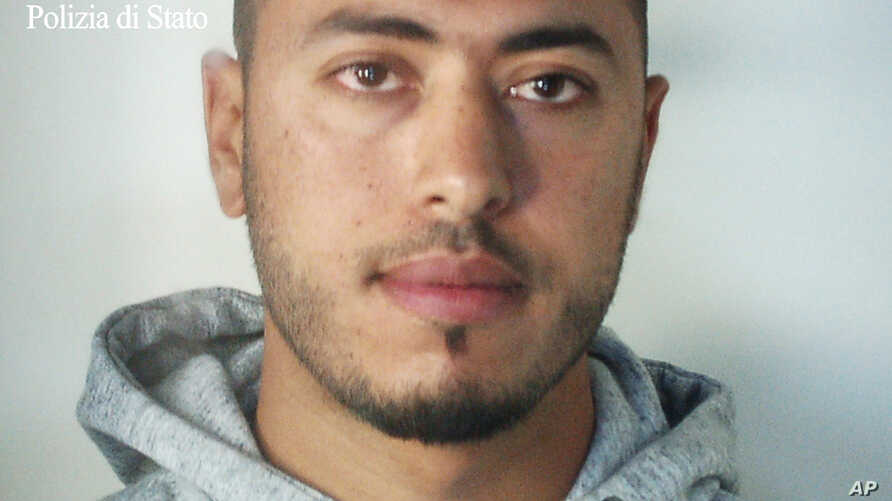 A man identified by police as Anis Hanachi, the brother of a Tunisian man who stabbed to death two women in the French city of Marseille earlier this month, is seen in this photo provided, Oct. 9, 2017 by Italian Police.