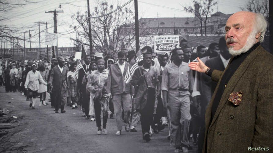 Stephen Somerstein talks about a photo he took during the famous 1965 Selma-to-Montgomery march in Alabama at the New-York Historical Society, Jan. 14, 2015.