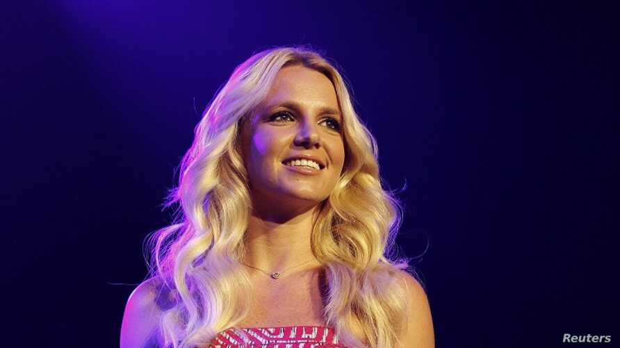 Spears smiles on stage at the 2011 Wango Tango concert in Los Angeles, May 14, 2011