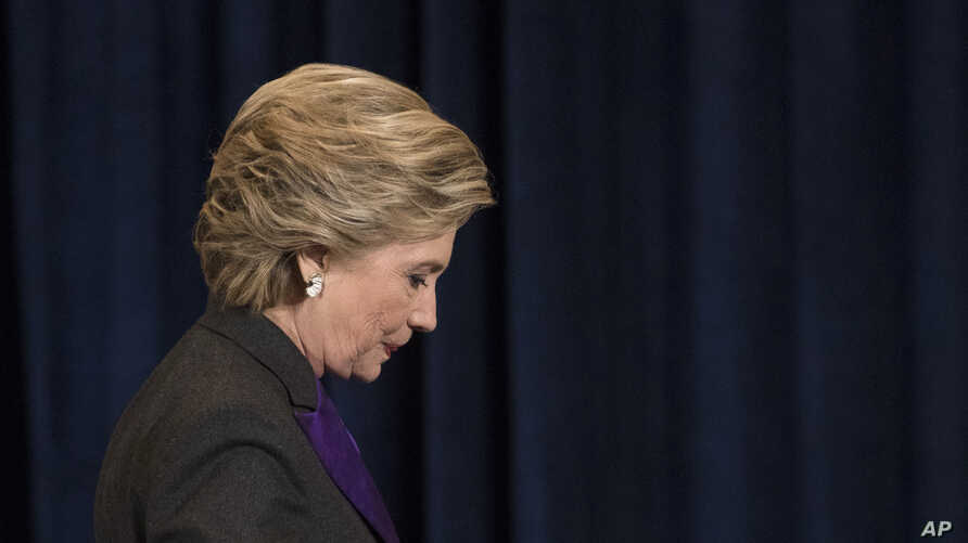 Democratic presidential candidate Hillary Clinton walks off the stage after conceding to Donald Trump in New York, November 9, 2016. While Clinton lost the all-important Electoral College, she is expected to win the popular vote.