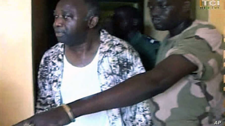 Laurent Gbagbo shown on Ivorian television shortly after his capture in Abidjan, Apr 11 2011