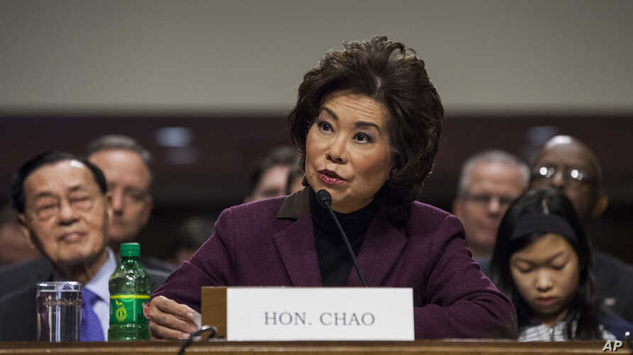 Transportation Secretary-designate Elaine Chao testifies on Capitol Hill in Washington, Jan. 11, 2017, at her confirmation hearing before the Senate Commerce, Science, and Transportation Committee.