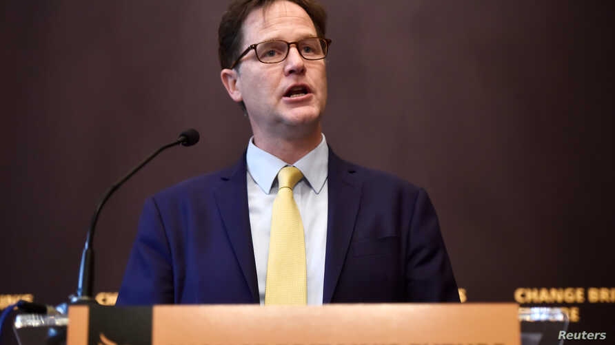 FILE - Nick Clegg speaks at a campaign event in London, Britain, May 2 2017.