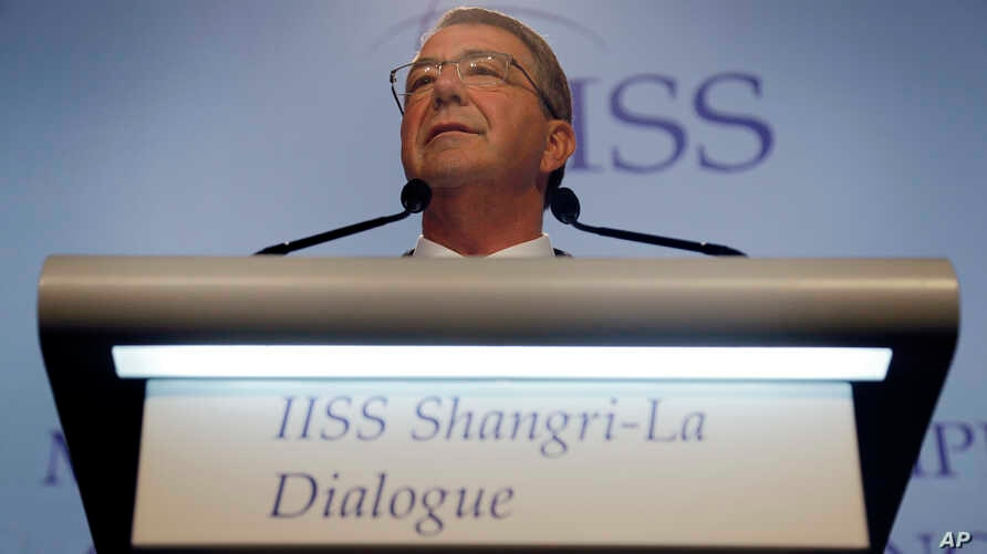 """U.S. Defense Secretary Ash Carter delivers a speech titled """"Meeting Asia's Complex Security Challenges"""" at the 15th International Institute for Strategic Studies Shangri-la Dialogue, or IISS, Asia Security Summit, in Singapore, June 4, 2016."""