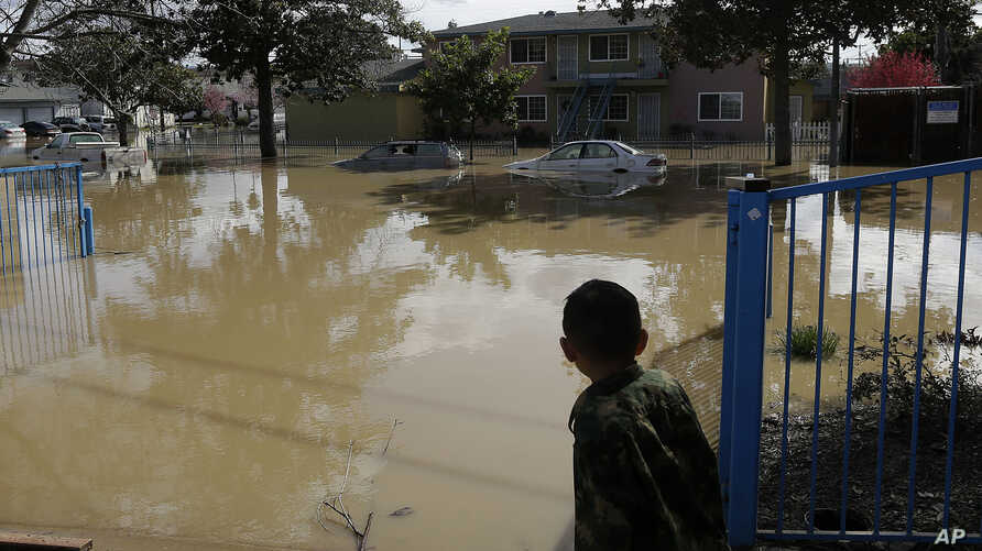 A boy looks onto flooded Nordale Avenue in San Jose, California, Feb. 22, 2017. Rising floodwaters sent thousands of residents fleeing inundated homes in San Jose and forced the shutdown of a major freeway.