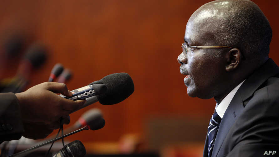FILE - Burundi's second vice-president, Gervais Rufyikiri, is seen taking a question during a press conference.