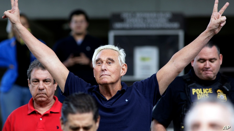 Former campaign adviser for President Donald Trump,  Roger Stone walks out of the federal courthouse following a hearing, Jan. 25, 2019, in Fort Lauderdale, Fla. Stone was later indicted with lying to Congress and obstructing the Russia probe.