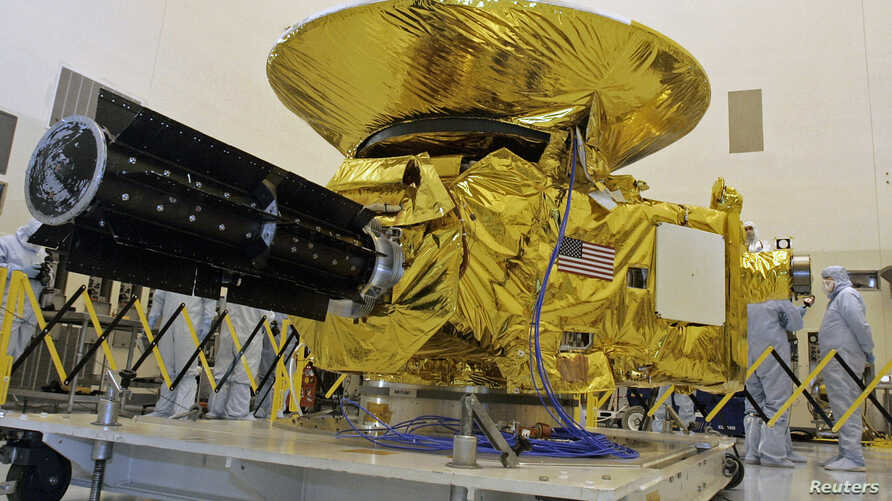 FILE - NASA's New Horizons spacecraft is displayed at the Kennedy Space Center in Cape Canaveral, Florida.