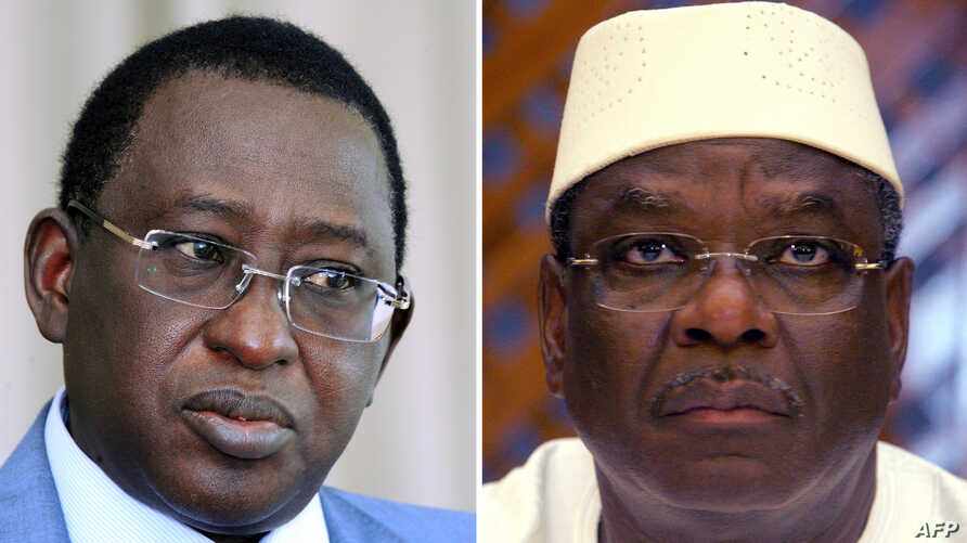 This combination of two file pictures shows (at L) Malian presidential candidate, Soumaila Cisse, and (at R) Malian presidential candidate Ibrahim Boubacar Keita, dubbed IBK.