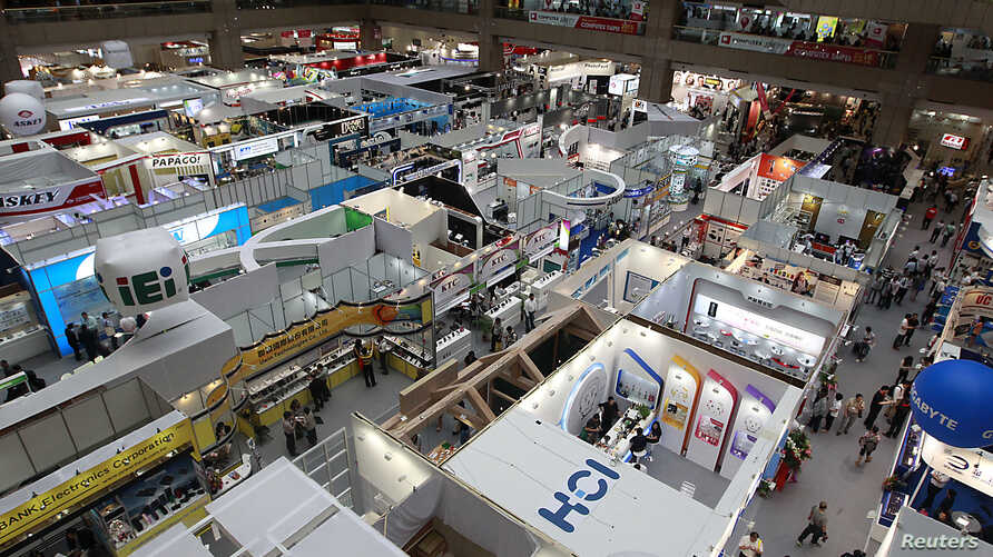 A general view shows booths at the 2014 Computex exhibition in Taipei World Trade Center, June 4, 2014.