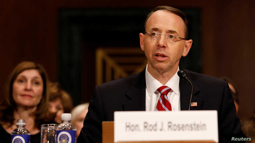 Rod Rosenstein, nominee to be Deputy Attorney General, testifies before the Senate Judiciary Committee on Capitol Hill in Washington, March 7, 2017.