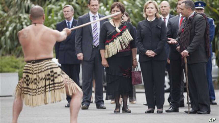 U.S. Secretary of State Hillary Rodham Clinton looks on during a traditional Maori welcoming ceremony after arriving at the Parliament Complex, Wellington, New Zealand, 04 Nov. 2010.
