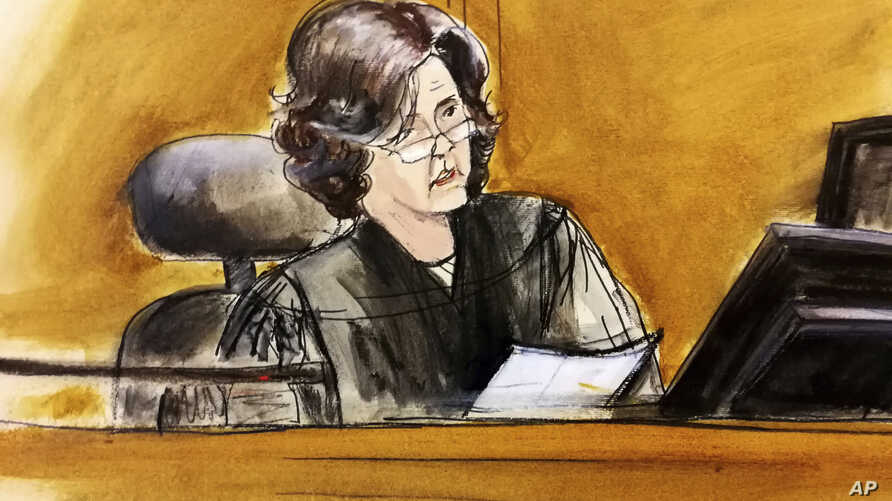 In this courtroom sketch, U.S. District Judge Kimba Wood presides over a federal court hearing where attorneys for President Donald Trump and Michael Cohen, the president's personal attorney, tried to persuade the judge to delay prosecutors from exam