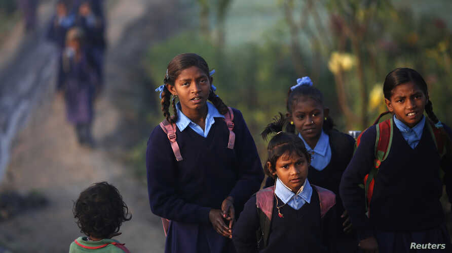 Schoolgirls make their way to their school through a vegetable field early morning in New Delhi, India, Dec. 11, 2013.