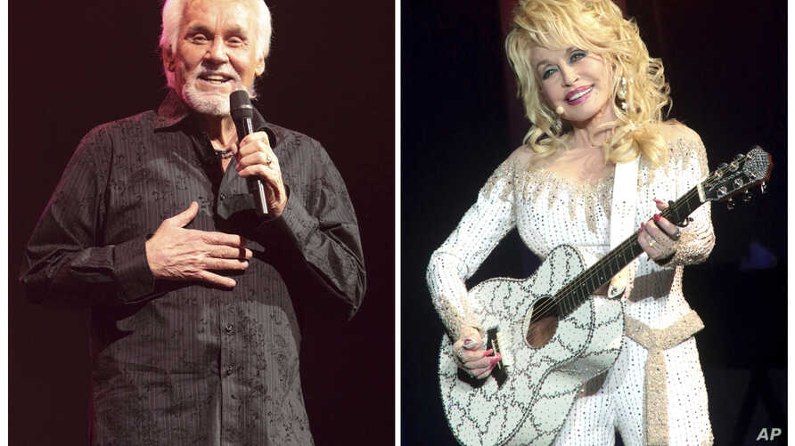 FILE - A combination photo shows Kenny Rogers (L) performing on March 7, 2013, in Lancaster, Pa. and Dolly Parton performing in Philadelphia on June 15, 2016.
