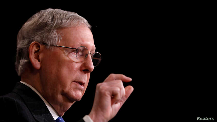 "FILE - U.S. Senate Majority Leader Mitch McConnell, R-Ky., speaks with reporters at the U.S. Capitol in Washington, April 7, 2017. ""We will now try a different way to bring the American people relief from Obamacare,"" he said in announcing a plan to v"