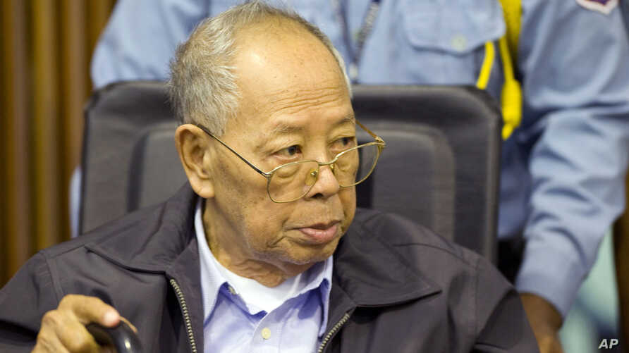 In this Nov. 23, 2011 file photo released by the Extraordinary Chambers in the Courts of Cambodia, former Khmer Rouge Foreign Minister Ieng Sary sits during the third day of a trial of the U.N.-backed war crimes tribunal in Phnom Penh, Cambodia.