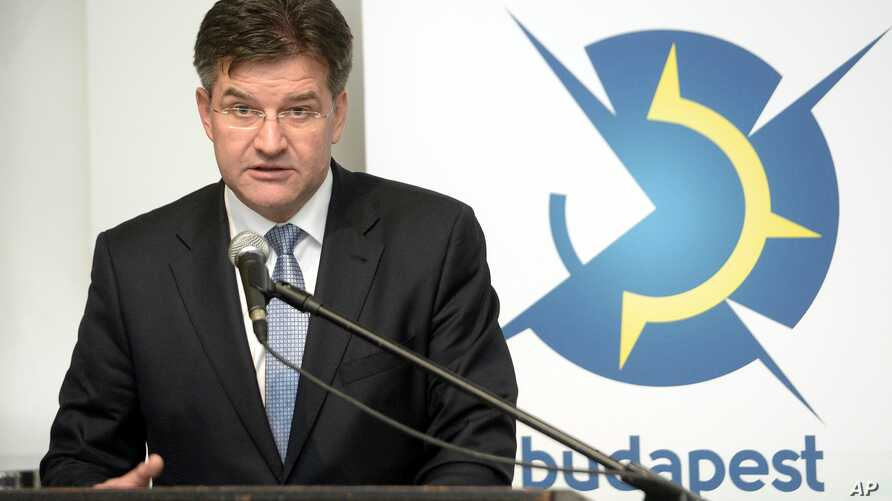 Slovakian Foreign Minister Miroslav Lajcak speaks during the conference 'The Budapest Security Conference: What Do We Expect in Warsaw? Tasks and Challenges of the NATO' in Budapest, Hungary, Thursday, Feb. 25, 2016.