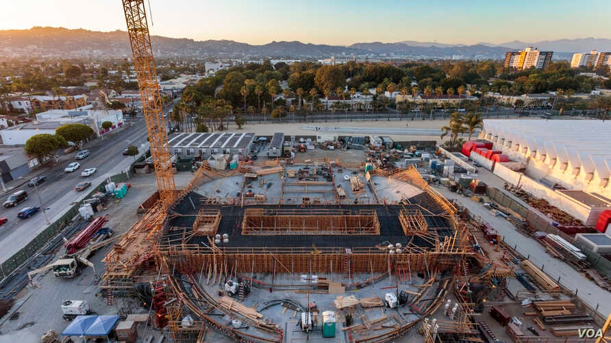 An aerial photo of the construction site of the $388 million Academy Museum of Motion Pictures scheduled to open in 2019.