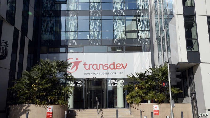 FILE - The headquarters of  French international public transport company Transdev is seen in Issy-les-Moulineaux, April 9, 2014.