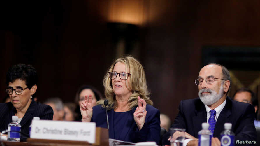 Professor Christine Blasey Ford, who has accused U.S. Supreme Court nominee Brett Kavanaugh of a sexual assault in 1982, testifies before a Senate Judiciary Committee confirmation hearing for Kavanaugh on Capitol Hill in Washington.