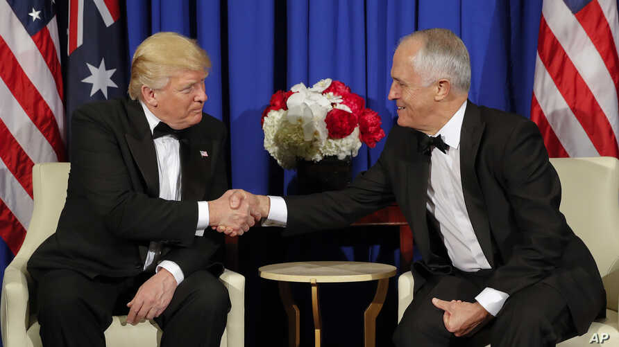 President Donald Trump and Australian Prime Minister Malcolm Turnbull shake hands during their meeting aboard the USS Intrepid, a decommissioned aircraft carrier docked in the Hudson River in New York, May 4, 2017.