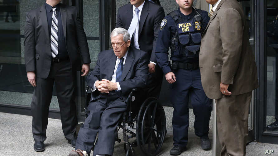 Former House Speaker Dennis Hastert departs the federal courthouse, April 27, 2016, in Chicago, after his sentencing on federal banking charges which he pled guilty to last year.