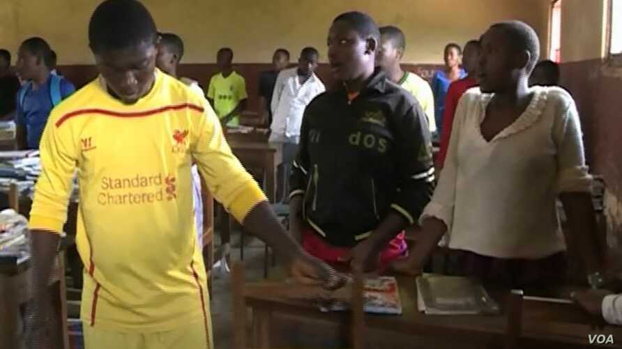 Students gather in class at the Presbyterian School of Science and Technology after fellow students and their principal were kidnapped in Bafut, near Bamenda, Cameroon, Nov. 5, 2018.
