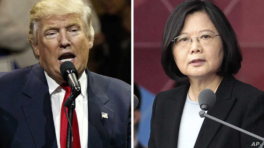 """FILE - This combination of two photos shows U.S. President-elect Donald Trump speaking during a """"USA Thank You"""" tour event in Cincinatti, Dec. 1, 2016, and Taiwan's President Tsai Ing-wen, delivering a speech during National Day celebrations in Taipe..."""