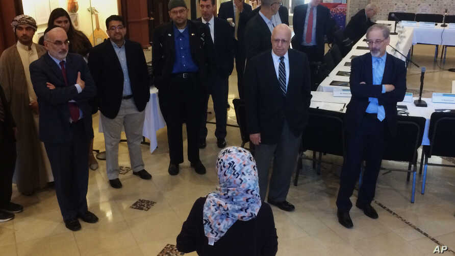 Members of the Muslim Jewish Advisory Council are welcomed to the Arab American National Museum in Dearborn, Mich., Oct. 3, 2017.