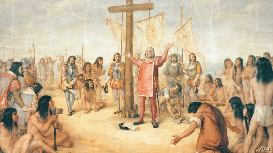 FILE -- This mural depicting Christopher Columbus, painted by Luigi Gregori, is on display at the University of Notre Dame, in South Bend, Ind. The University of Notre Dame will cover murals in a campus building that depict Columbus in America, the s