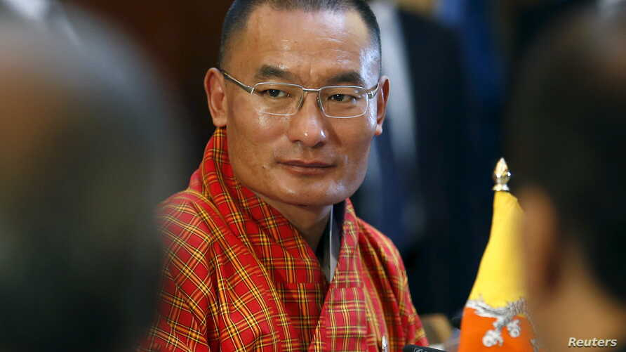 Bhutan's Prime Minister Tshering Tobgay looks on during a meeting with Sri Lanka's President Maithripala Sirisena (not pictured) at the Presidential Secretariat in Colombo, April 10, 2015.