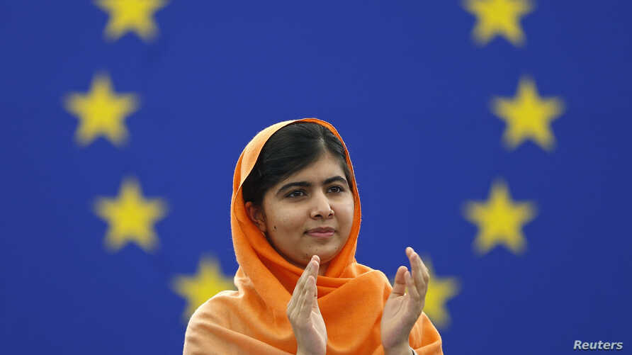 Pakistani teenage activist Malala Yousafzai, who was shot in the head by the Taliban for campaigning for girls' education, attends an award ceremony to receive her 2013 Sakharov Prize, at the European Parliament in Strasbourg, Nov. 20, 2013.