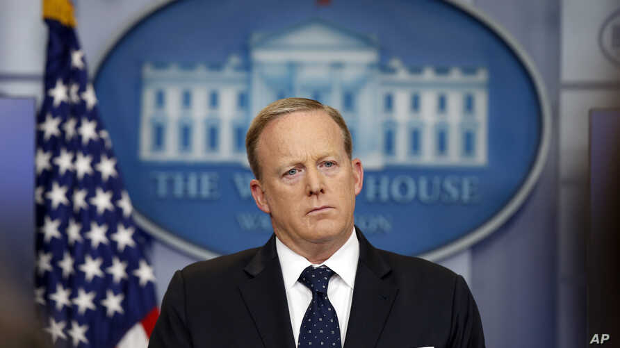 White House press secretary Sean Spicer listens to a reporter's question during a briefing at the White House, June 20, 2017 in Washington.