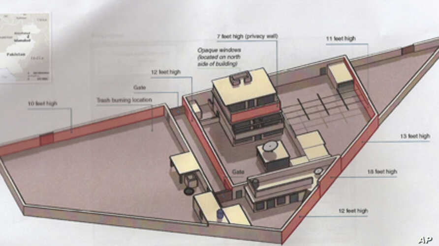 A diagram of the compound where Osama bin Laden was killed in a U.S. raid.